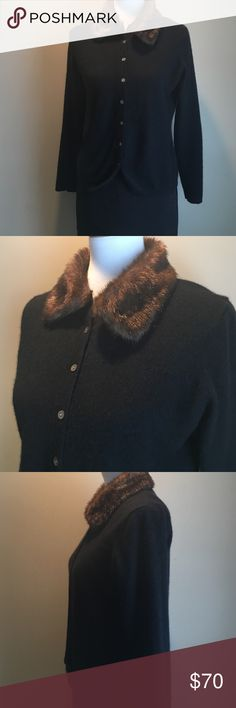 """Grayson & Dunn 100% Cashmere Cardigan Sweater Grayson & Dunn cashmere cardigan with detachable faux fur collar.  A throw back look to glamour.  This soft little sweater can be worn with fur collar or without.   Perfect Christmas party sweater.  Great paired with jeans and boots.    23"""" from shoulder to hem Grayson & Dunn  Sweaters Cardigans"""