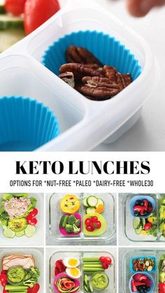 These Keto Lunches for work or school are easy to make and perfect if you need low carb lunch ideas. Lots of tips, tricks and options for dairy free, nut free, no cooking, no heating or microwave needed! So simple to make ahead and easy to customize. Includes gons of gluten-free, paleo, nut-free and Whole30 options #ketolunches #whole30 #keto #lowcarb #nutfree #lunches