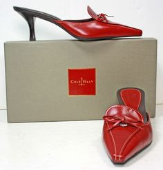 NIB Women's COLE HAAN Red Pepper Brooke Mules Heels Slides Shoes sz 7 B #ColeHaan #Mules