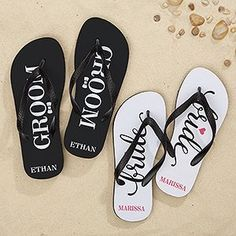 e782c96fd7d9e Just Married Personalized Adult Flip Flops