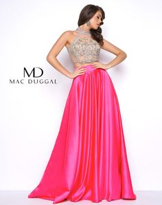 Two-piece prom dress with illusion beaded top and a solid satin skirt in Lipstick or Ocean Blue.