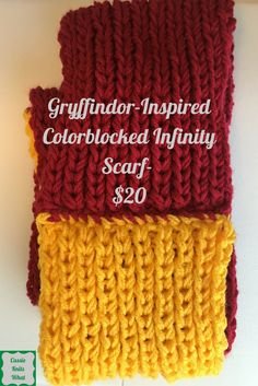 This colorblocked infinity scarf was lovingly knitted in Gryffindor colors, red and gold. This piece is not licensed, but it was inspired by Harry Potter.