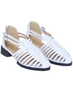 White Zipper Slingbacks Flat Shoes