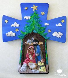 polymer clay Nativity in a Wooden Cross