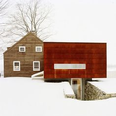 We're welcoming the holidays this year by appreciating superb design — especially projects that evoke our love for winter! This rural New York cottage expansion by Messana O'Rorke respects the existing structure of the original 19th-century Dutch house, with the new wing providing a stark visual contrast through a modern rectilinear fenestration clad in Cor-Ten steel. The expansion accommodates a kitchen, bathroom, bedroom, exercise room, steam room, and sauna. Talk about a warm winter…