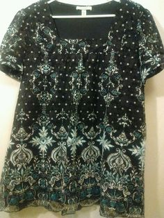 Dress Barn Blouse Floral Stitch Lace Overlay Design Cuffed Arms Casual Career #Dressbarn #Blouse #CasualorCareer