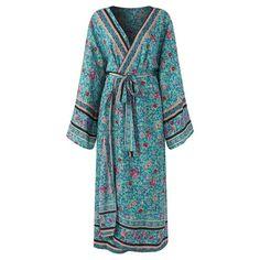 Boho Vintage Floral Print Kimono Robe    #kimono #robe #vintage #retro #vibe #boho #bohostyle #bohemian #floral #shopping #onlineshopping #cardigan #sleepwear #style #fashion