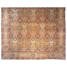 Antique Persian Lavar Oriental Rug, Mansion Size, with Subdued Colors | From a unique collection of antique and modern persian rugs at https://www.1stdibs.com/furniture/rugs-carpets/persian-rugs/