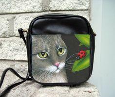 Small Sling Bag Purse Accessory Cat 543 Ladybug Art Painting By L.Dumas