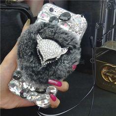 Luxury The fox head Bling Warm Soft Beaver Rabbit Fur Hair phone cases for SAMSUNG S5 S6 S6E S7E N4 N5 protective phone hot sale