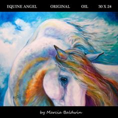 M BALDWIN ORIGINAL OIL PAINTING BLUE EQUINE ANGEL HORSE ~ MARCIA BALDWIN ~ Click to view Art Auction 3 Day event