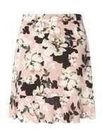 Womens Blush Floral Pephem Mini Skirt- Pink