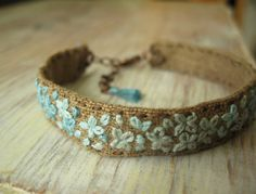 Teal Ombre Embroidered Bracelet by Sidereal on Etsy, $28.00