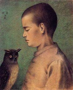 Gunther Stephan - William Degouve de Nuncques, Child with Owl, 1892 Saatchi Francoise Gilot (French, Little Girl . Old Paintings, Original Paintings, Portrait Paintings, Francoise Gilot, Bird People, Oil Painting Reproductions, Owl Art, Art And Illustration, Art Illustrations
