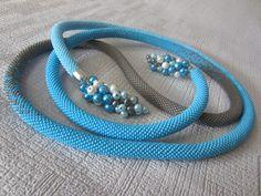 """Купить Лариат """"Голубая мечта"""", жгут из бисера - бирюзовый, нежно-голубой, серый, лариат длинный"""