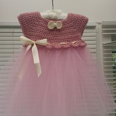 Crochet and tulle baby dress