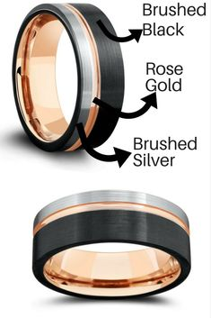 Mens tungsten wedding ring. Modern design with three tone colors. Black, silver, and rose gold. My husband really wanted a rose gold wedding ring and this would be perfect! #Goldjewelrywedding