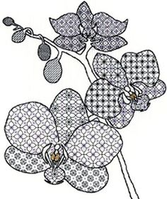 Orchid Blackwork Creative Embroidery Cross Stitch Kit XBW2