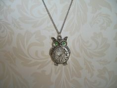 Owl Necklace Green Eyed Owl Necklace Silver Owl by JypsyJewels