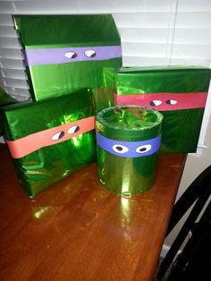 Ninja Turtle Birthday - must wrap the boys' presents like this!