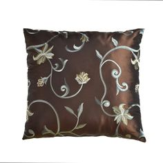 "Athena 18"" Pillow in Chocolate / French Blue"