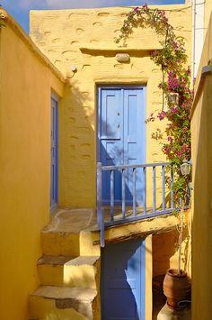 Narrow streets & houses of Ano Syros, Syros Island , Greek Cyclades Islands
