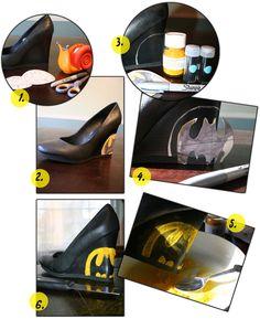 Flocked batman shoes DIY