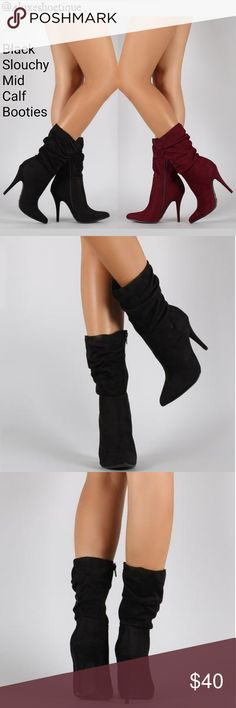 Pointy Toe Slouchy Mid Calf Booties Faux Suede These mid calf booties will have you on another level of the fashion game, I'm talking shoe envy girls! Lovvvvvve mid calf booties. They have a design that accentuates your legs perfectly!   Attributes: Heel Height Approx 4 Inches  Hidden Side Zipper  Shaft Approx 12 Inches  Circumference Approx 14 Inches Vegan Suede(Faux) Shoes Heeled Boots