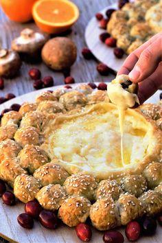 Sausage & Mushroom Stuffed Brie Wheels