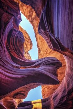 Antelope Canyon, Arizona. What an amazing (and humbling) view, to look up and see the curves and history all around you!