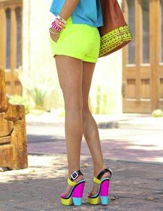 OMG SHOES! / Haute heels: Go bright! #wedge #shoe #multi #color #inspiration | Fashion design shoes