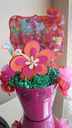 Luau Happy Birthday Centerpiece by ASweetCelebration on Etsy, $28.00