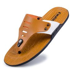 $9.60 (Buy here: alitems.com/... ) 2017 Men's Flip Flops Leather Slippers Summer Fashion Beach #Sandals #Shoes for Men Outdoor Casual Beach #Shoes Flip Flops Size 44 for just $9.60