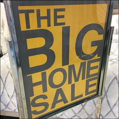 Big Home Sale Storewide Signing Bed Linen, Linen Bedding, Yellow Sign, Retail Fixtures, Compare And Contrast, Sale Promotion, Big Houses, Entry Doors, Visual Merchandising