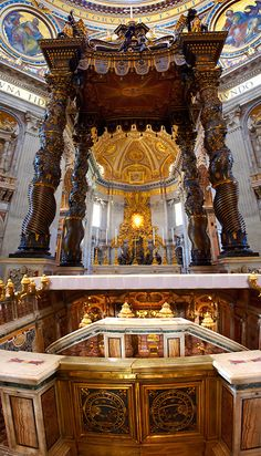 The Tomb of St. Peter and Baroque Canopy (baldacchino) by Bernini in St Peter's, The Vatican, Rome
