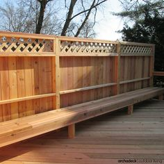 Cedar Deck Privacy Rail Bench Seating Drink Ledge For All Natural