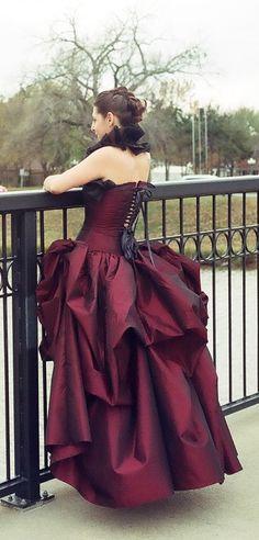 Bustle skirt red custom
