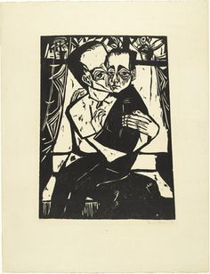 Erich Heckel, Siblings (Geschwister) from the portfolio Eleven Woodcuts, 1912-1919 (Elf Holzschnitte, 1912-1919), 1913