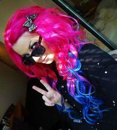 Curly Pink & Blue Hair✶ #Hair #Colorful_Hair #Dyed_Hair