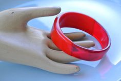Red Lucite/Acrylic Bangle - Half Cherry Amber Clear - Half Solid Tomato Red Bracelet - Irregular Contour - Funky Bracelet