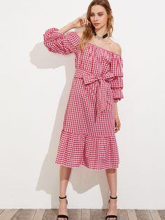 d6be06e3280d Red Off Shoulder Ruched Sleeve Tiered Hem Dress
