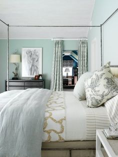 love the wall color and simple pattern and texture of the elements in the room