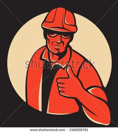 Vector illustration of a construction worker/foreman engineer holding thumbs up viewed from front set inside circle done in retro style on black background.