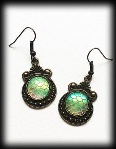 Dragon Scales Earrings Mermaid Antique Bronze Fantasy Mythical Jewelry Tail