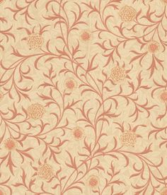 Scroll (210364) - Morris Wallpapers - This classic design has two pattern layers, a soft muted all over leaf pattern, overlaid with a scrolling floral trail. Shown here in the soft red and cream shades – available in other colours. Please request sample for true colour match.