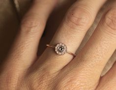 Handmade Champagne Diamond ring with pavé White Diamonds.  Product details Middle stone Gemstone: Champagne Diamond Measurement: 3 mm Shape: Rose cut
