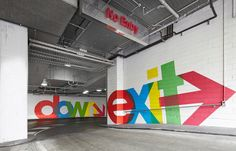 Interesting way to add life to a carpark. QV Carpark by Latitude Group, via Behance #signage #wayfinding #signs