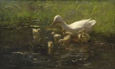 Artwork by Willem Maris, Mother duck with ducklings, Made of oil on canvas