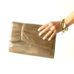Soft leather crossbody bag  vintage 80s clutch by PittiVintage