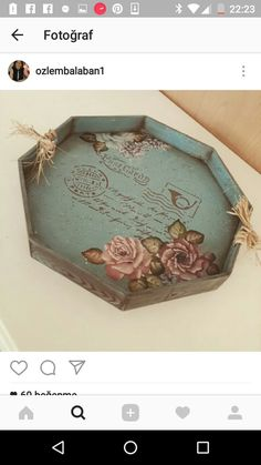 Hilarie Tolstad's media content and analytics Decoupage Wood, Decoupage Vintage, Antique Mailbox, Foto Transfer, Crafts For Seniors, Painted Trays, Diy Schmuck, Tray Decor, Jewellery Storage